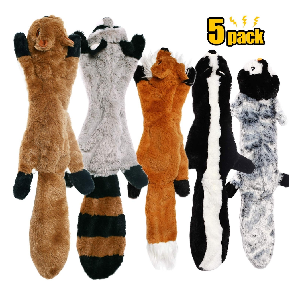 CNMGBB No Stuffing Set Of Dog Toys, 5 Pack: Squirrel, Raccoon, Fox, Skunk and Penguin)